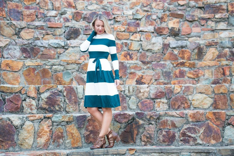 Colorblock Midi - Hunter Green