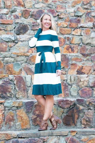 Checked Peplum - Teal