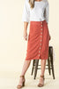 Side Step Pencil Skirt - Rust