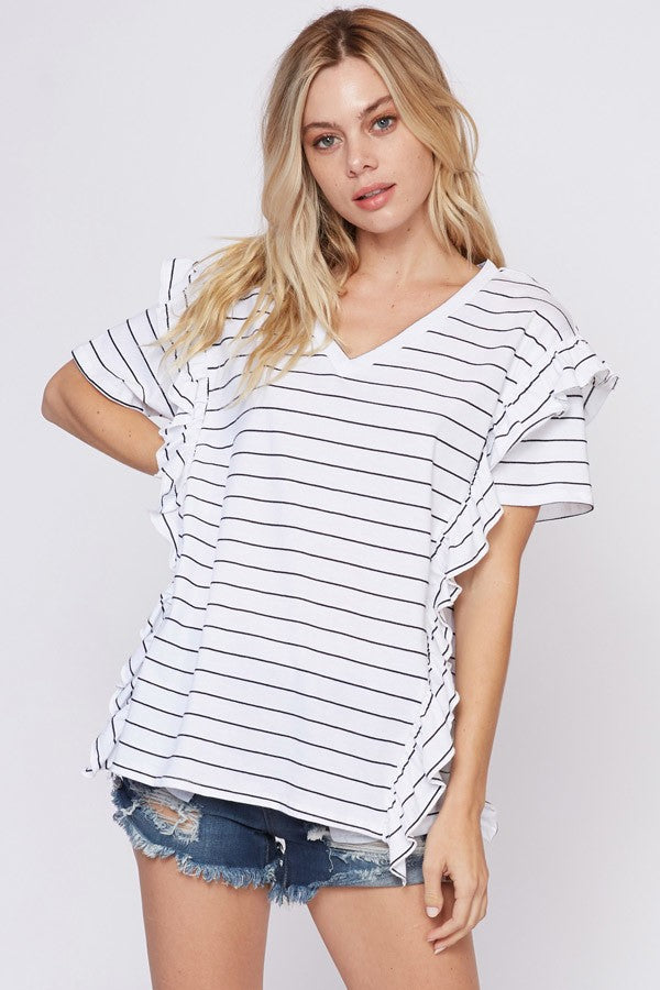 Ruffled V-Neck in B&W