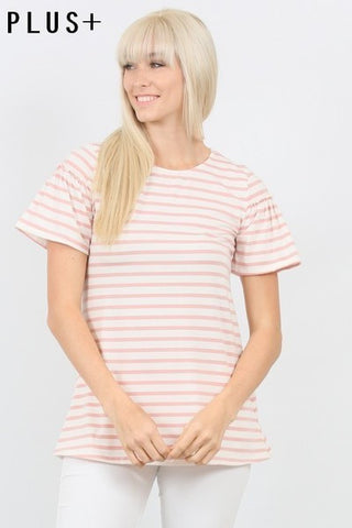Basic Striped Pocket Tee - Taupe
