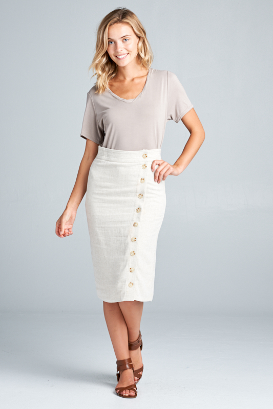 Side Step Pencil Skirt - Oatmeal