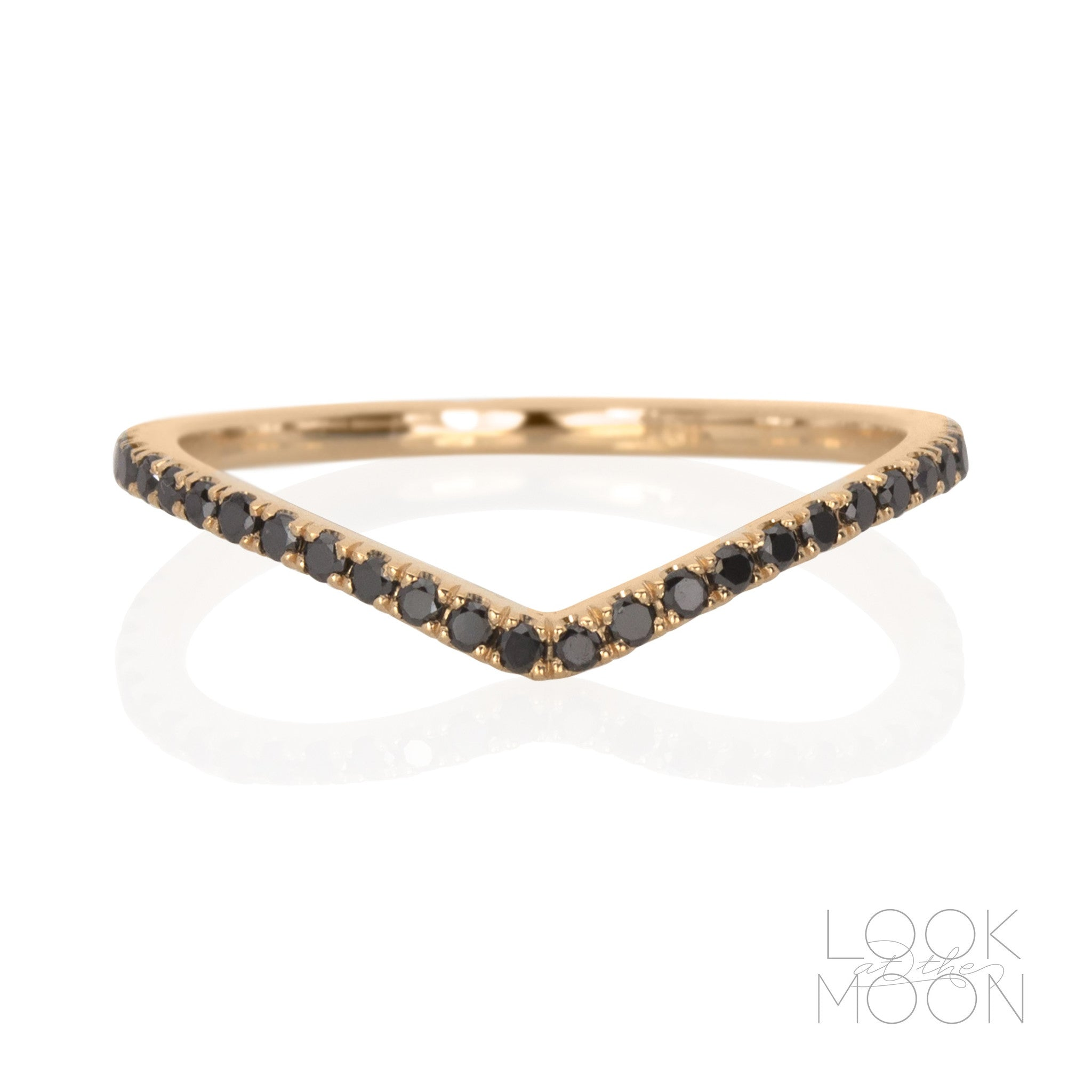 Chevron Ring Black Diamonds Rose Gold – Look at the Moon