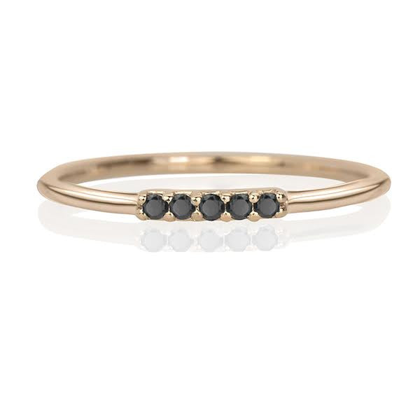 Five Star Ring, Black Diamonds & Rose Gold