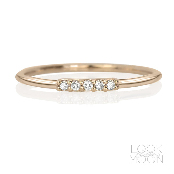 Five Star Ring, Diamonds & Rose Gold