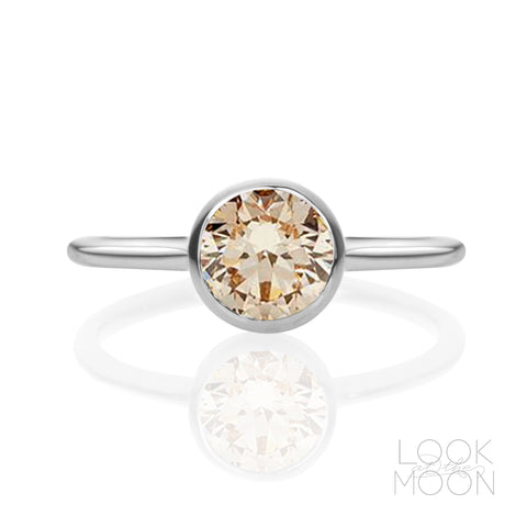 Rosalind: Peach Gemstone, White Gold