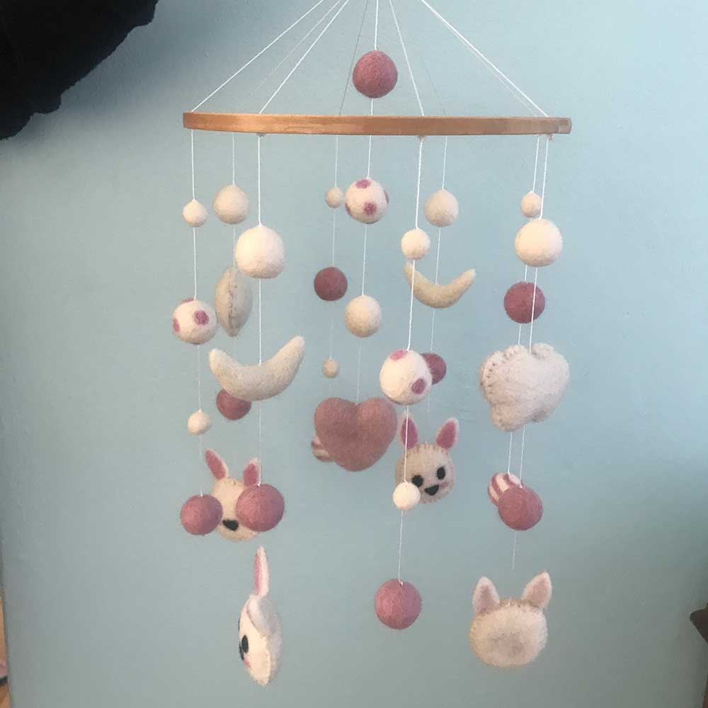 How To Make A Nursery Mobile On A Round Wooden Mobile Frame