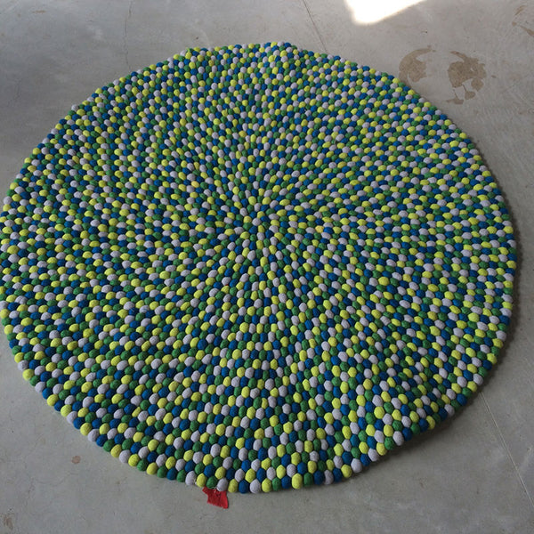 custom felt ball rug green and yellow