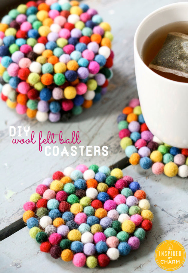 how to make felt ball coaster