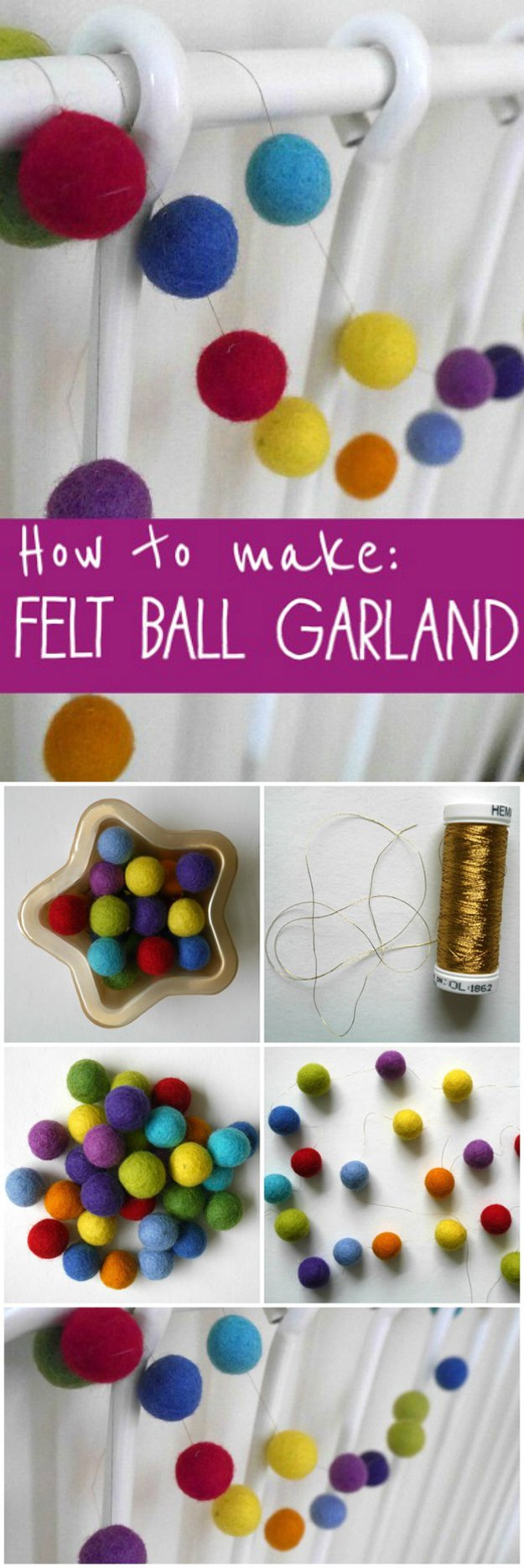felt ball garland diy