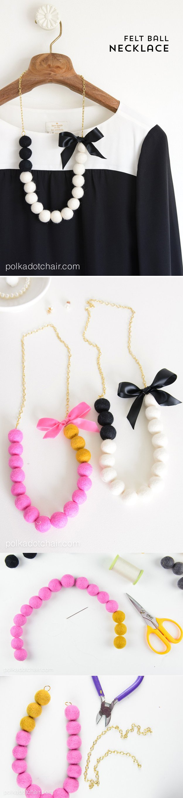 felt ball necklace diy
