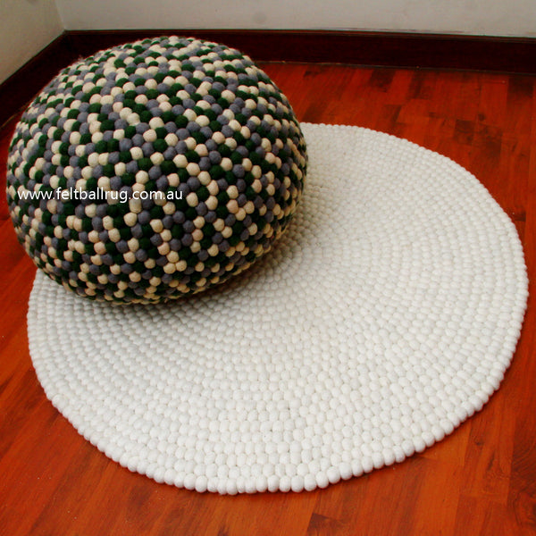green grey white felt ball ottoman pouf