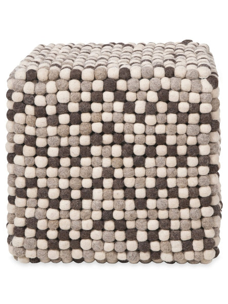 Natural Grey Felt Ball Ottoman Pouf