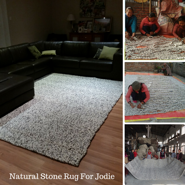 rectangle felt ball rug natural stone