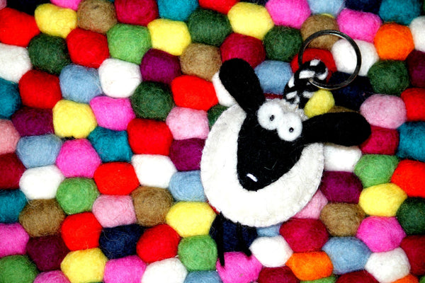 multicolour felt ball rug