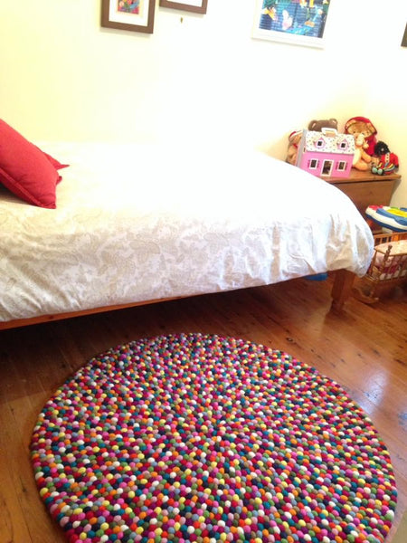 multicolord felt ball rug