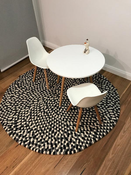 monochrome felt ball rug review
