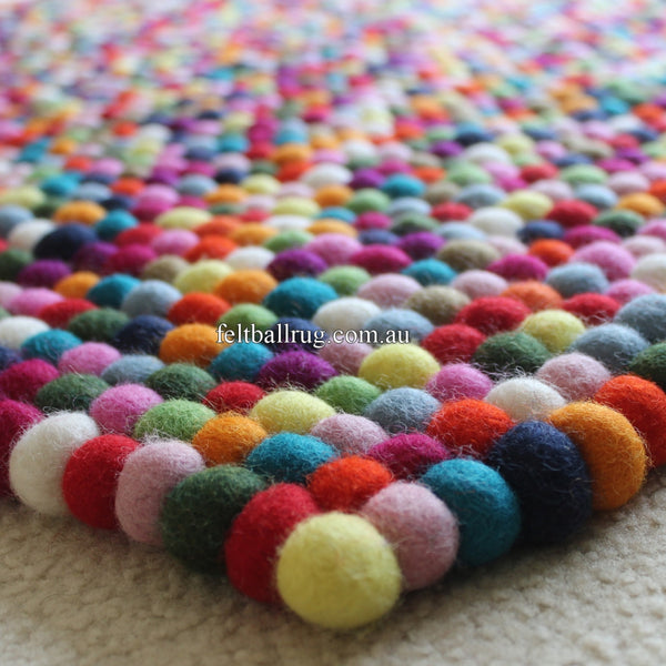 Multicolored Rectangle Felt Ball Rug