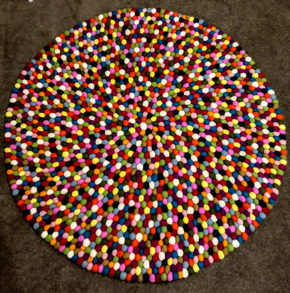 multicoloured felt ball rug review