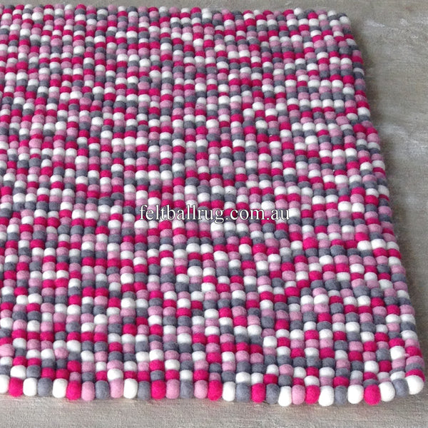 Pink Grey And White Rectangle Felt Ball Rug