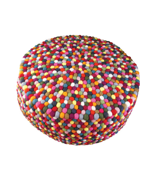 multicolored felt ball ottoman pouf