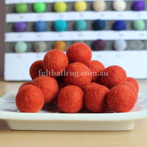 Felt Ball Burnt Orange 1 CM,  2 CM, 2.5 CM, 3 CM, 4 CM Colour 13 - Felt Ball Rug Australia - 1