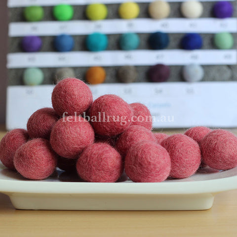 Felt Ball Candy Pink 1 CM,  2 CM, 2.5 CM, 3 CM, 4 CM Colour 15 - Felt Ball Rug Australia - 1