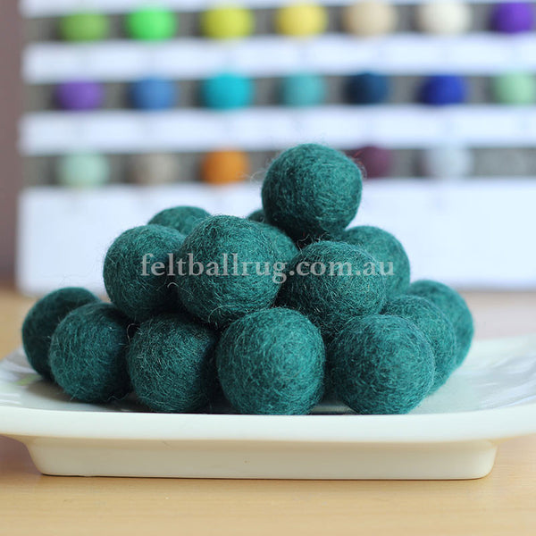 Felt Ball Teal Green 1 CM,  2 CM, 2.5 CM, 3 CM, 4 CM Colour 17 - Felt Ball Rug Australia - 1