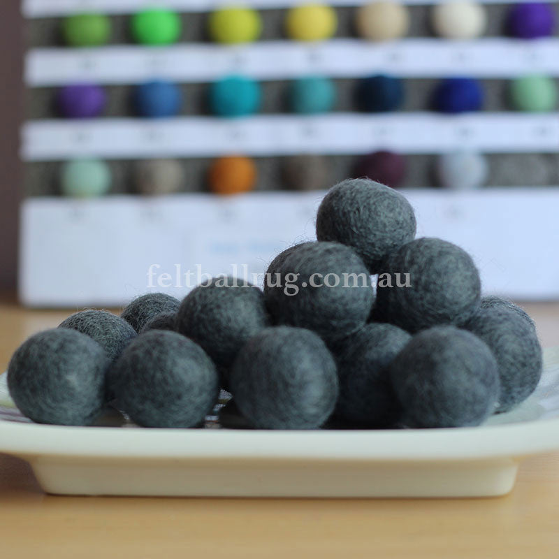 Felt Ball Storm Grey 1 CM,  2 CM, 2.5 CM, 3 CM, 4 CM Colour 18 - Felt Ball Rug Australia - 1