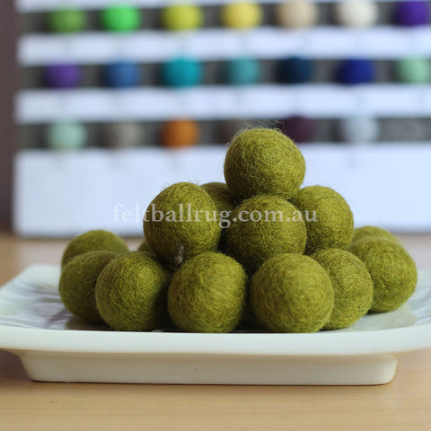 Felt Ball Sunshine Yellow 1 CM,  2 CM, 2.5 CM, 3 CM, 4 CM Colour 24 - Felt Ball Rug Australia - 1