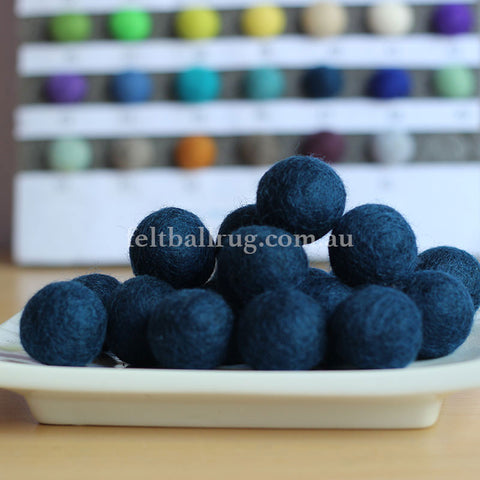 Felt Ball Navy Blue 1 CM,  2 CM, 2.5 CM, 3 CM, 4 CM Colour 29 - Felt Ball Rug Australia - 1