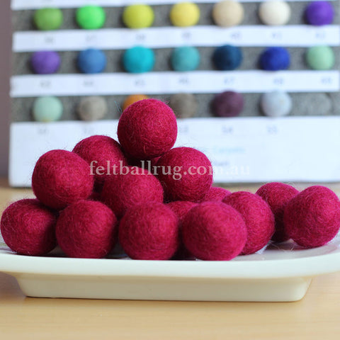 Felt Ball Rose Red 1CM,  2CM, 2.5CM, 3CM, 4CM Colour 2 - Felt Ball Rug Australia - 1