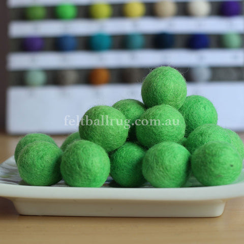 Felt Ball Green Apples 1 CM,  2 CM, 2.5 CM, 3 CM, 4 CM Colour 37 - Felt Ball Rug Australia - 1