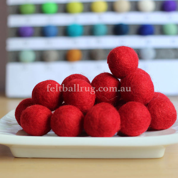 Felt Ball Bright Red 1CM,  2CM, 2.5CM, 3CM, 4CM Colour 3 - Felt Ball Rug Australia - 1