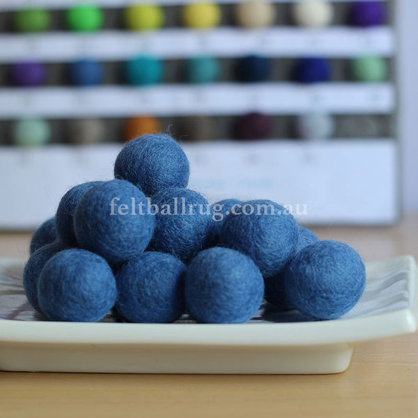 Felt Ball Blue Ocean 1 CM,  2 CM, 2.5 CM, 3 CM, 4 CM Colour 44 - Felt Ball Rug Australia - 1