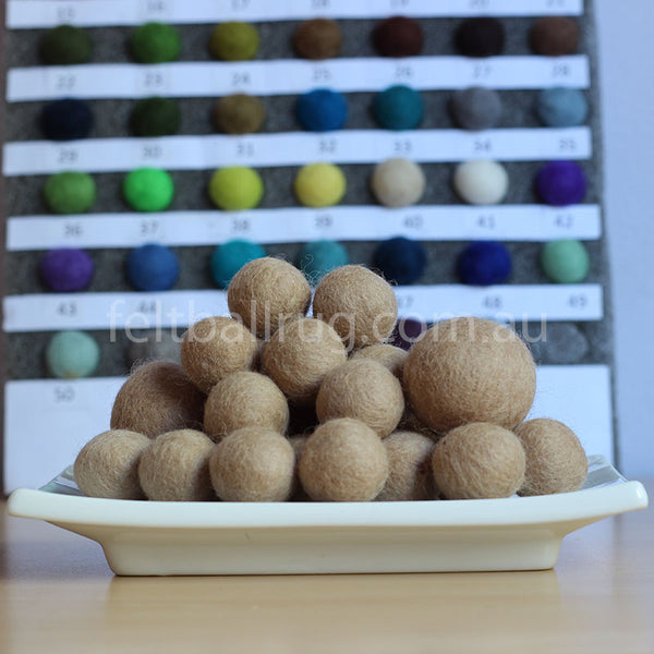 Felt Ball Hazelwood Brown 1 CM,  2 CM, 2.5 CM, 3 CM, 4 CM Colour 57 - Felt Ball Rug Australia