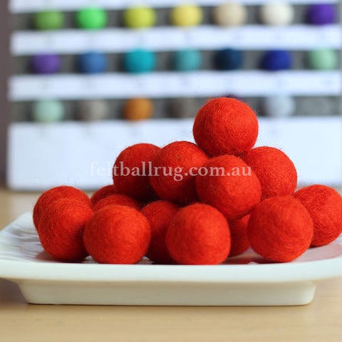 Felt Ball Crimson Red 1CM,  2CM, 2.5CM, 3CM, 4CM Colour 5 - Felt Ball Rug Australia - 1
