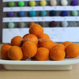 Felt Ball Orange 1CM,  2CM, 2.5CM, 3CM, 4CM Colour 6 - Felt Ball Rug Australia - 1
