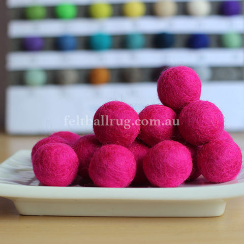 Felt Ball Bright Pink 1CM,  2CM, 2.5CM, 3CM, 4CM Colour 7 - Felt Ball Rug Australia - 1