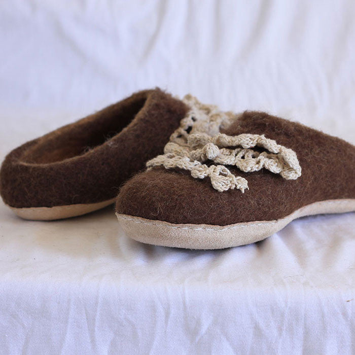 Chocolate Brown Felt Shoes