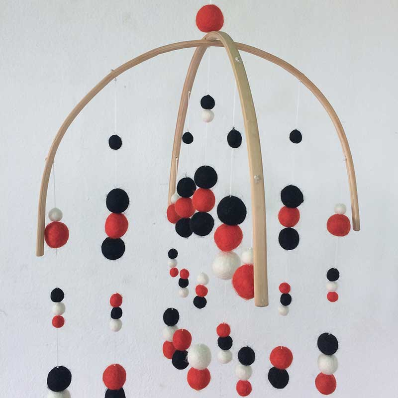 felt ball mobile black red white