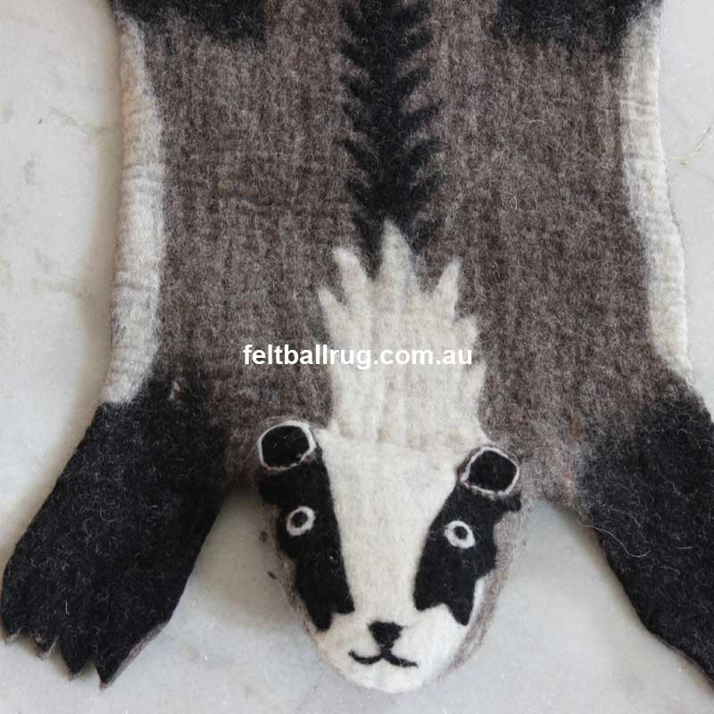 Animal Felt Rug Bob The Badger - Felt Ball Rug Australia - 1
