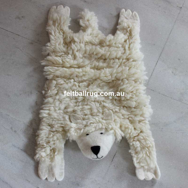 Animal Felt Rug Shaggy The Sheep - Felt Ball Rug Australia