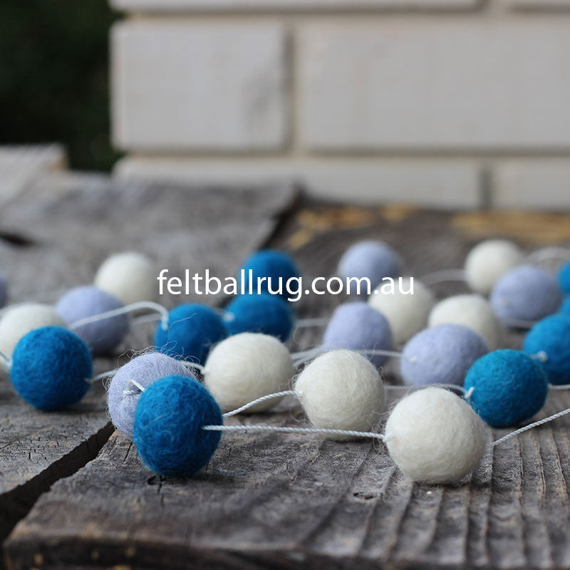 Felt Ball Garland Blue White Lavender - Felt Ball Rug Australia - 2