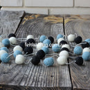Pom Pom Garland Black White Mint - Felt Ball Rug Australia - 1