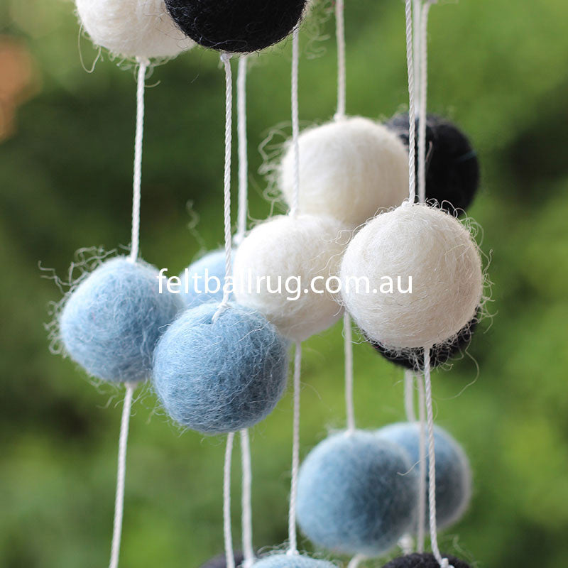 Pom Pom Garland Black White Mint - Felt Ball Rug Australia - 3
