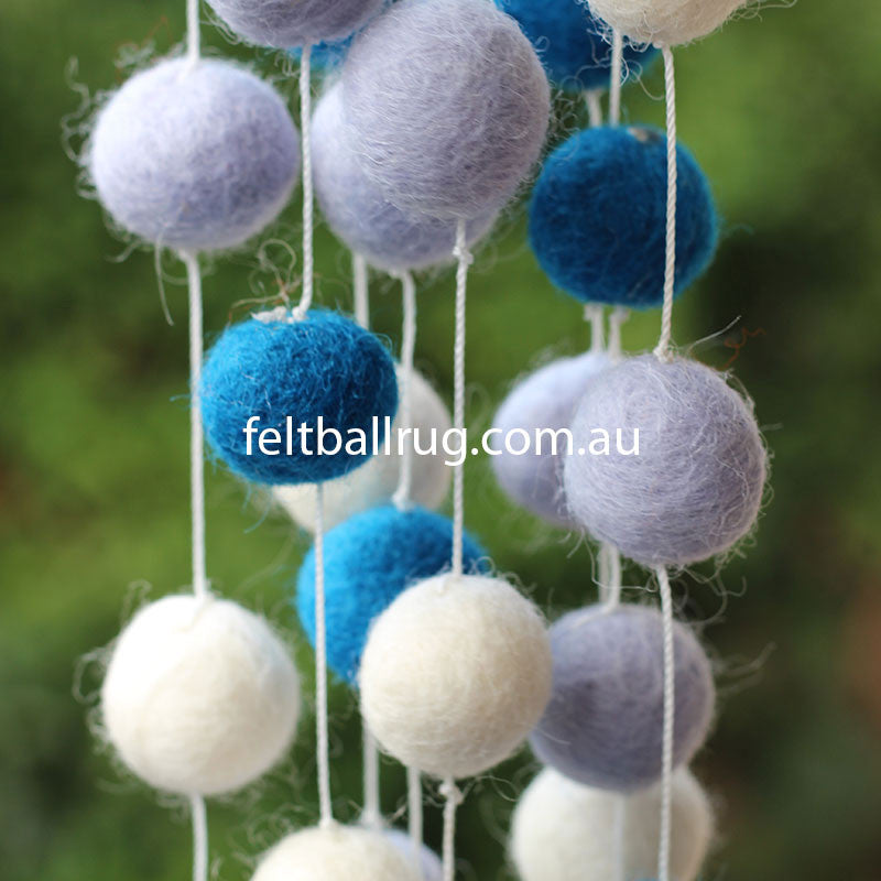 Felt Ball Garland Blue White Lavender - Felt Ball Rug Australia - 3