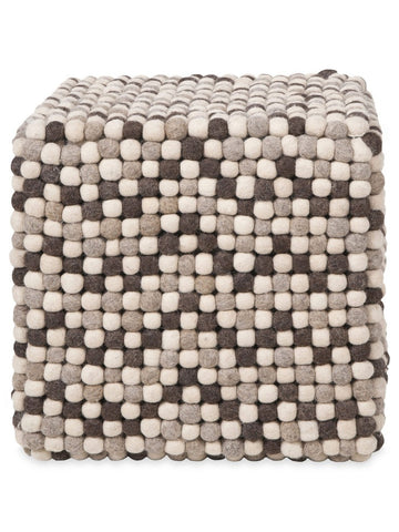 Natural Grey Felt Ball Ottoman Pouf - Felt Ball Rug Australia - 1