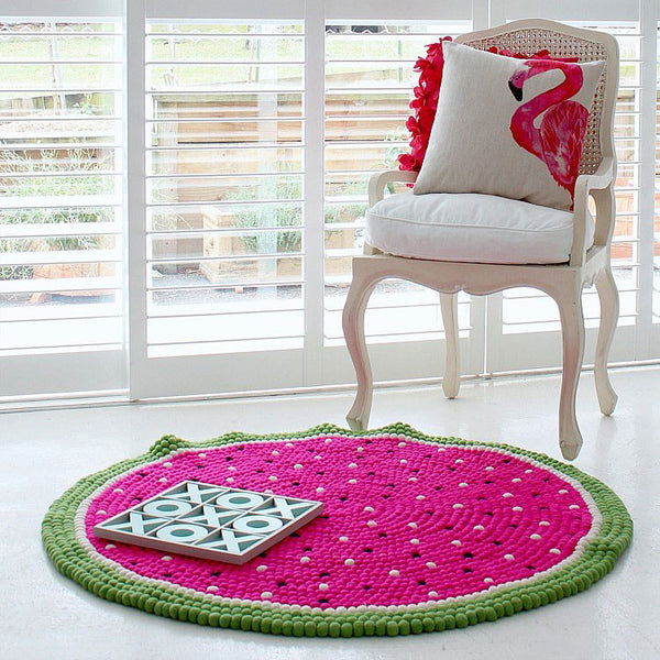 watermelon felt ball rug