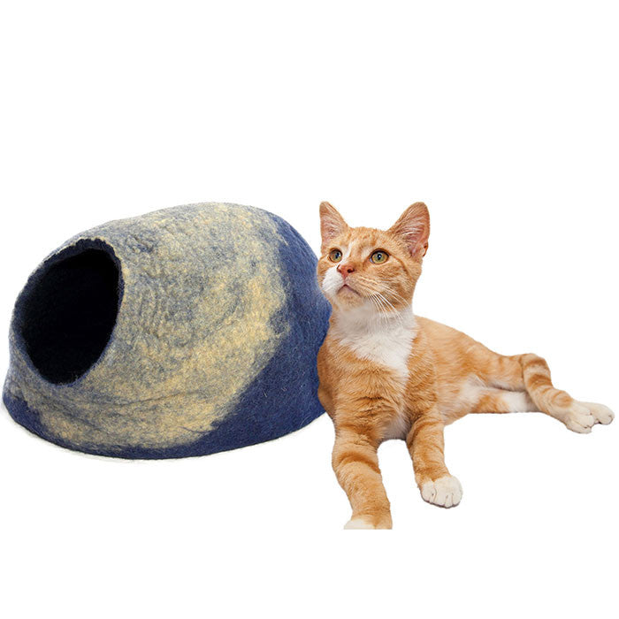 Bentley Blue Felt Cat Cave